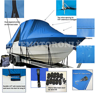 Angler 2100WA 21' Walk Around Cuddy Cabin Fishing T-Top Hard-Top Boat Cover Blue