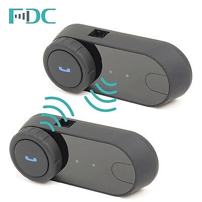 2Pcs FDC T-COM Motorcycle Helmet Bluetooth Intercom Headset FM Radio + Earpiece