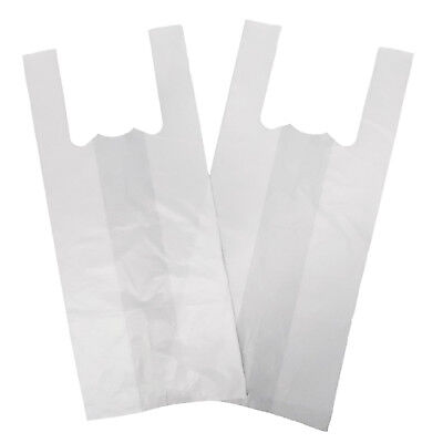100 X SMALL Strong WHITE Vest Carrier Bags 10 Micron 10