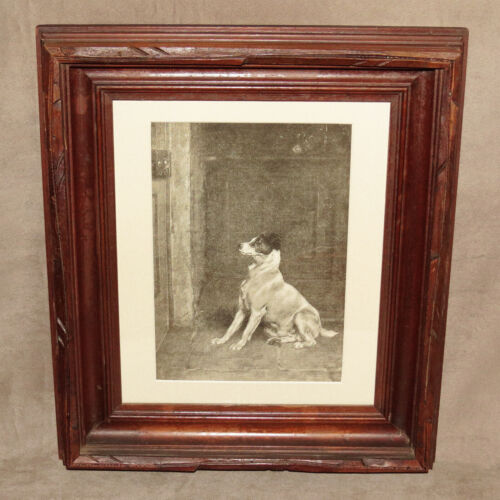 1870s WALNUT WOOD FRAMED VINTAGE PRINT JACK RUSSELL DOG BY BRITON RIVIERE