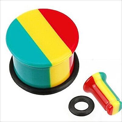 (1 PAIR Jamaican Rasta Single Flare Acrylic Ear Plugs Gauges 2g 0g or 00g Sizes)