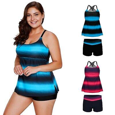 Women's Striped Tankini 2 Piece Set Adjustable Strap Swimsuit w/ Boyshorts Boyshort 2 Piece Swimsuit