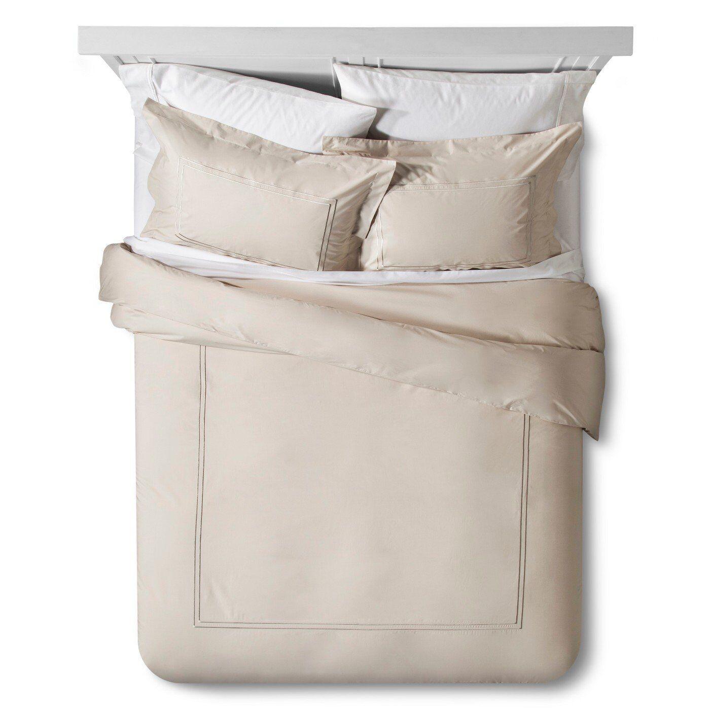 Fieldcrest Classic 100% Cotton 3pc Hotel Duvet & Sham Set – King – Sea Salt Bedding
