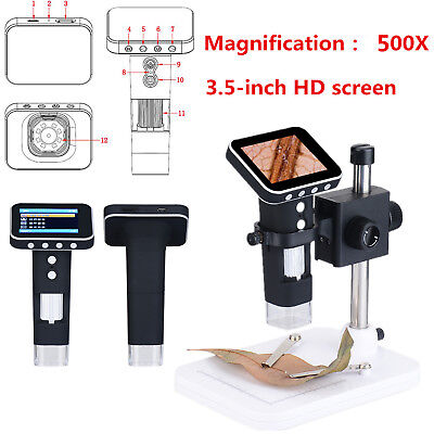 New 500x Hd Portable Usb Digital Microscope Camera With 3.5 Lcd Screenstand