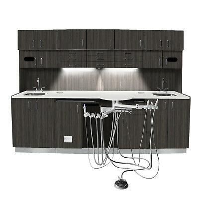 Barone Series Dental Cabinet W 3069 Delivery System 2 Sinks - Solid Surface Top