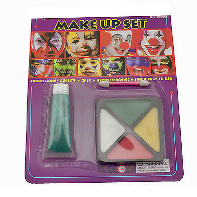 Costume Makeup (Green Tube Yellow White Red Face Paint Kit Set Makeup Halloween Costume Prop)