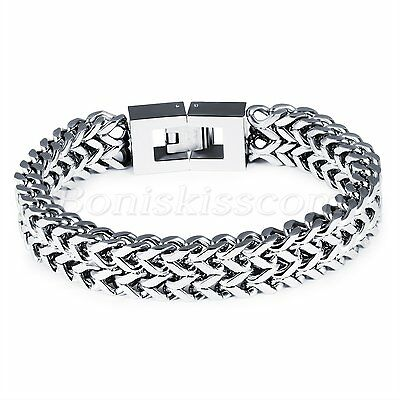 Punk Rock Heavy Silver Tone Stainless Steel Bracelet Chain Wristband Men's Gift