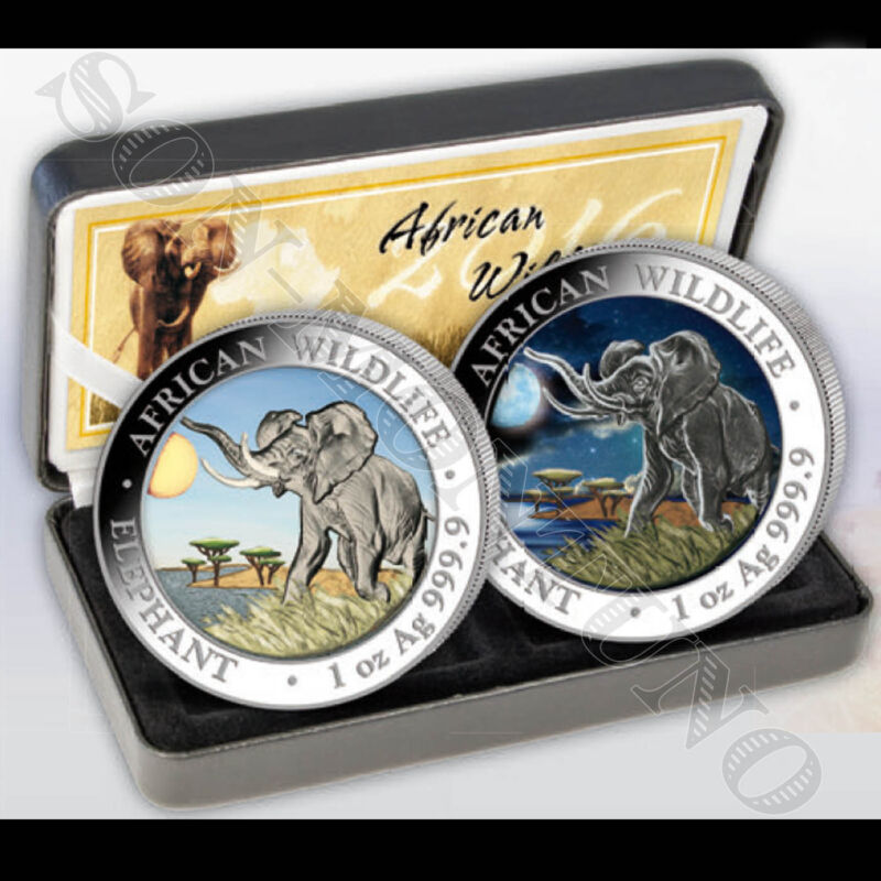 2016 Somalian ELEPHANT DAY & NIGHT Colorized Silver 2 Coin Set AFRICAN WILDLIFE