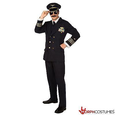 Mens Pilot Fancy Dress Costume Adult Airline Captain Top Gun Suit Bachelor Party - Top Fancy Dress Costumes