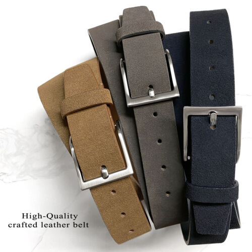 "41101 Genuine Leather Suede Belt Casual Jean Belt 1-1/2""(38mm) Wide"