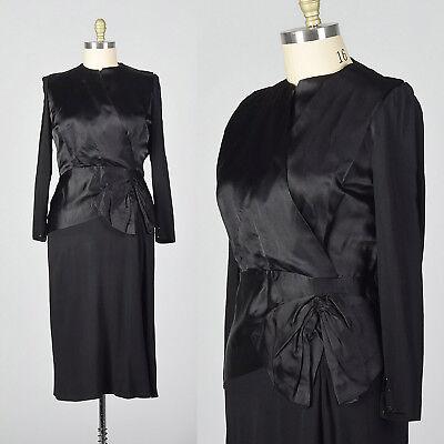 - L 1940s Black Cocktail Dress Satin Bodice Peplum Waist Evening Party LBD 40s VTG