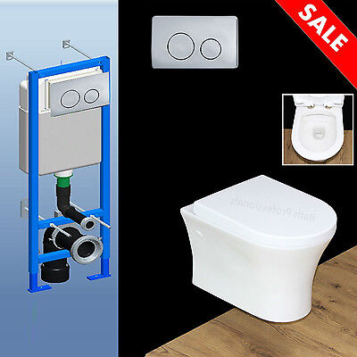 Toilet WC Bathroom Wall Hung Concealed Frame Universal Soft Close Seat Cover W8