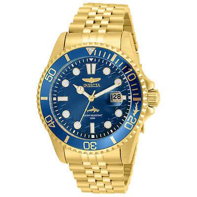 Invicta Men's Watch Pro Diver Quartz Blue Dial Yellow Gold Bracelet 30612