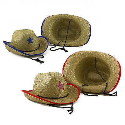 Cowboy Straw Hats Red Blue Western Rodeo Sheriff Police Kids Costume LOT  - Cowboy Hats Kids