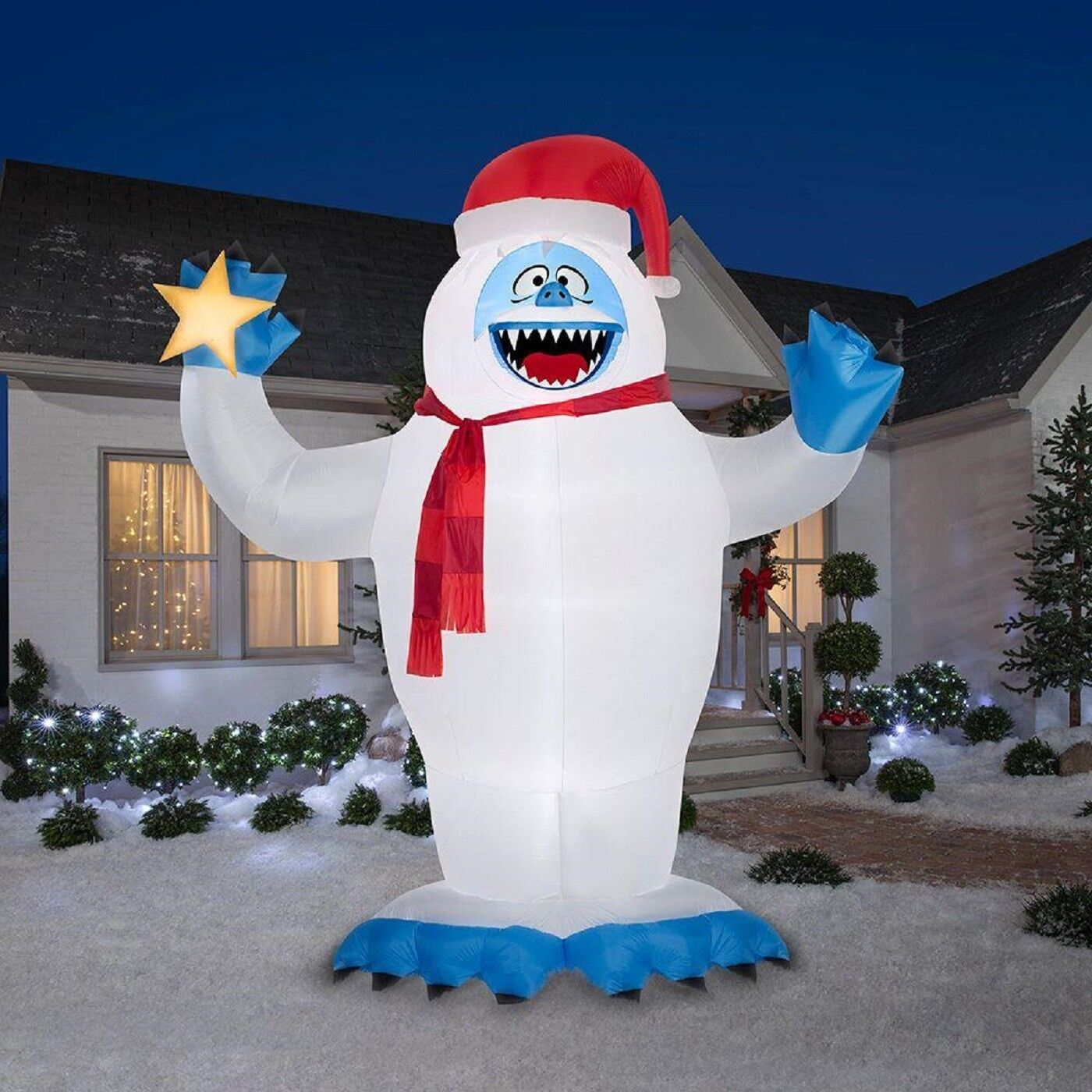 Christmas Inflatable Colossal 12' Bumble With Santa Hat Holding Star