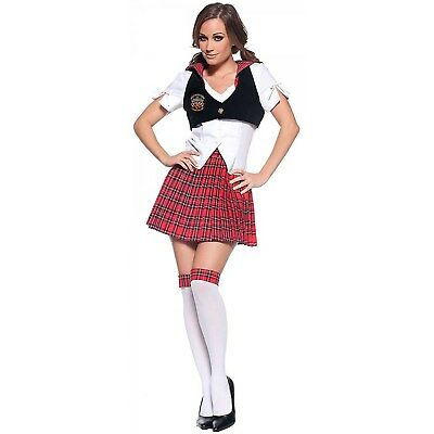Sexy Red Plaid Reform Private School Girl Adult Womens Halloween - Private School Girl Kostüm