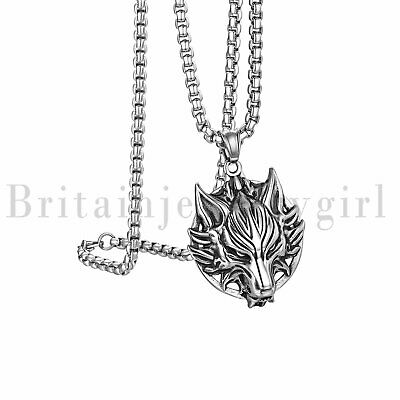 Stainless Steel Norse Viking Wolf Head Biker Pendant Necklace for Men Boys 22