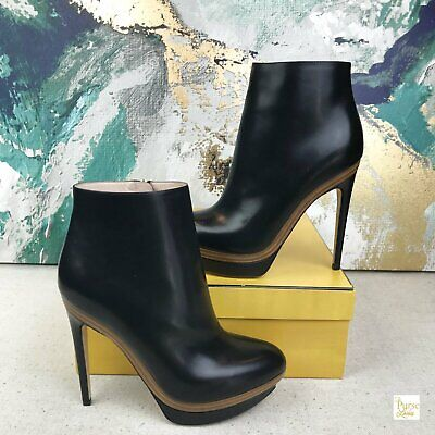 FENDI Black Smooth Leather Platform Zip Up Ankle Boots Booties SZ 40 Womens NEW
