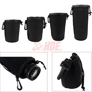 4PCS Neoprene DSLR Lens Soft Pouch Case Bag Size: S+M+L+XL for Canon Nikon Sony