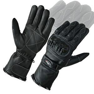 Cuero-Nudillo-Proteccion-Moto-Guantes-doble-costura-Invierno
