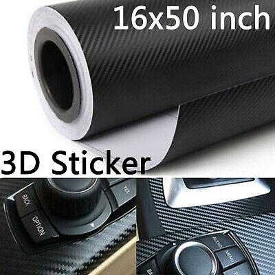 3D Car Accessories Interior Black Carbon Fiber Vinyl Wrap Sticker 50x16 inch
