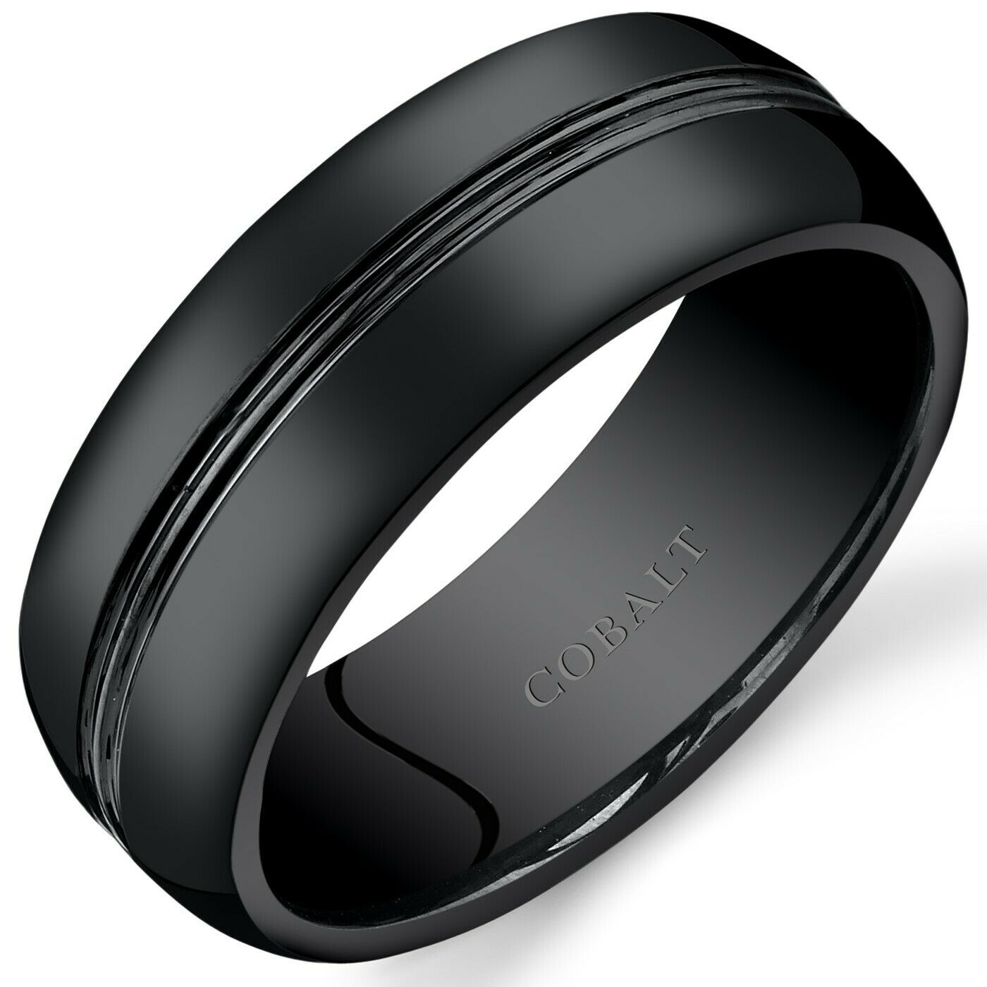 Black Titanium Mens Square Wedding Band Ring 8mm Stippled Finish Sizes 7-14