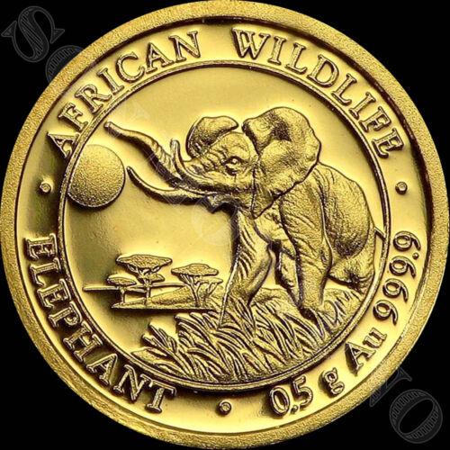 2016 SOMALIA GOLD ELEPHANT - 1/2 Gram 24k Coin in Capsule African Wildlife .9999