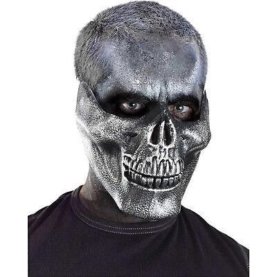 - Silver Metallic Skull Jaw Adult Halloween Costume Half Mask