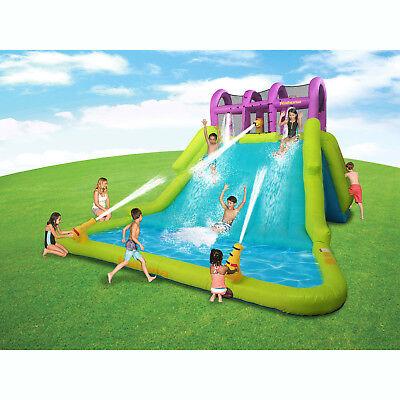Mega Water Slide - Kahuna Mega Blast Inflatable Backyard Kiddie Pool and Slide Water Park