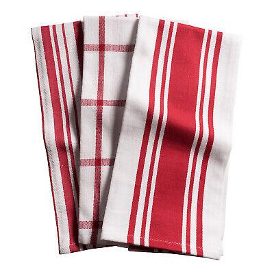 KAF Home Centerband/Basketweave/Windowpane Kitchen Towels, Set of 3, Cherry
