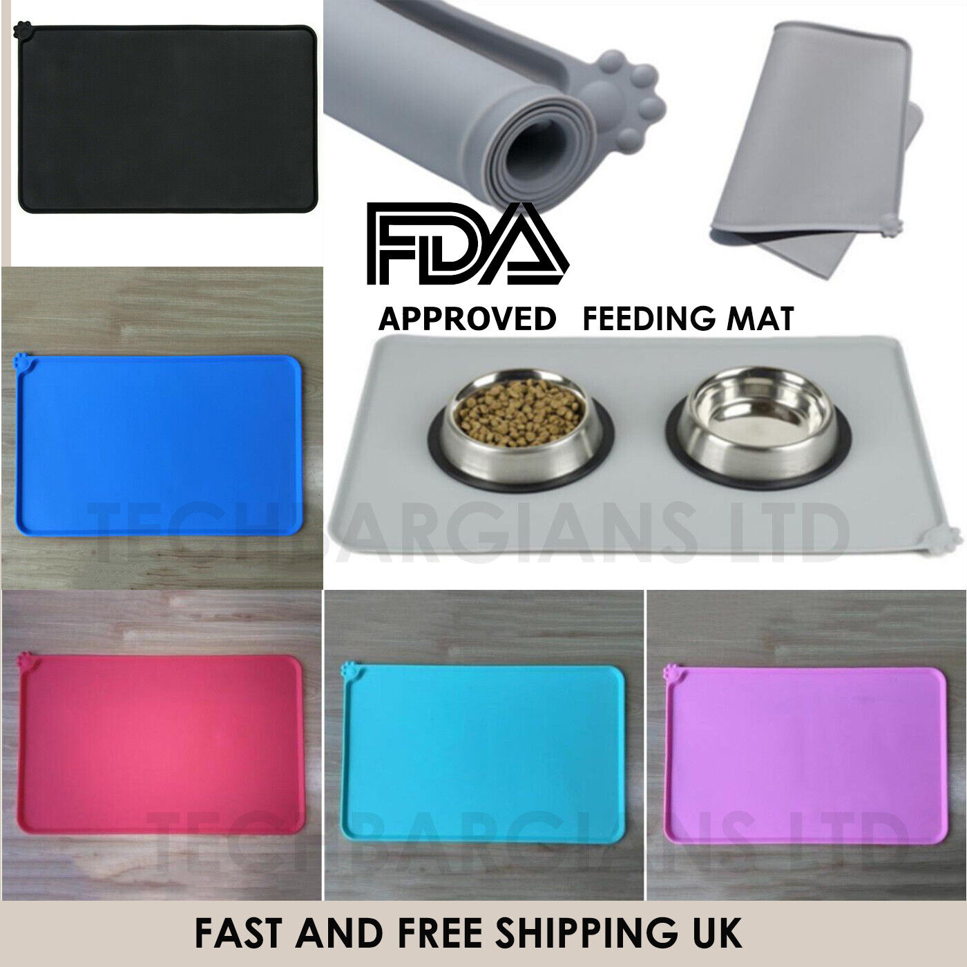 UK Silicone Pet Feeding Mat Non Slip Pet Food Placemat for Dog Cat Bowls 47x30cm