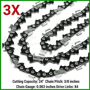3 x CHAINSAW CHAINS 3/8 063 84DL for Baumr-Ag SX82 82cc Chainsaw with 24