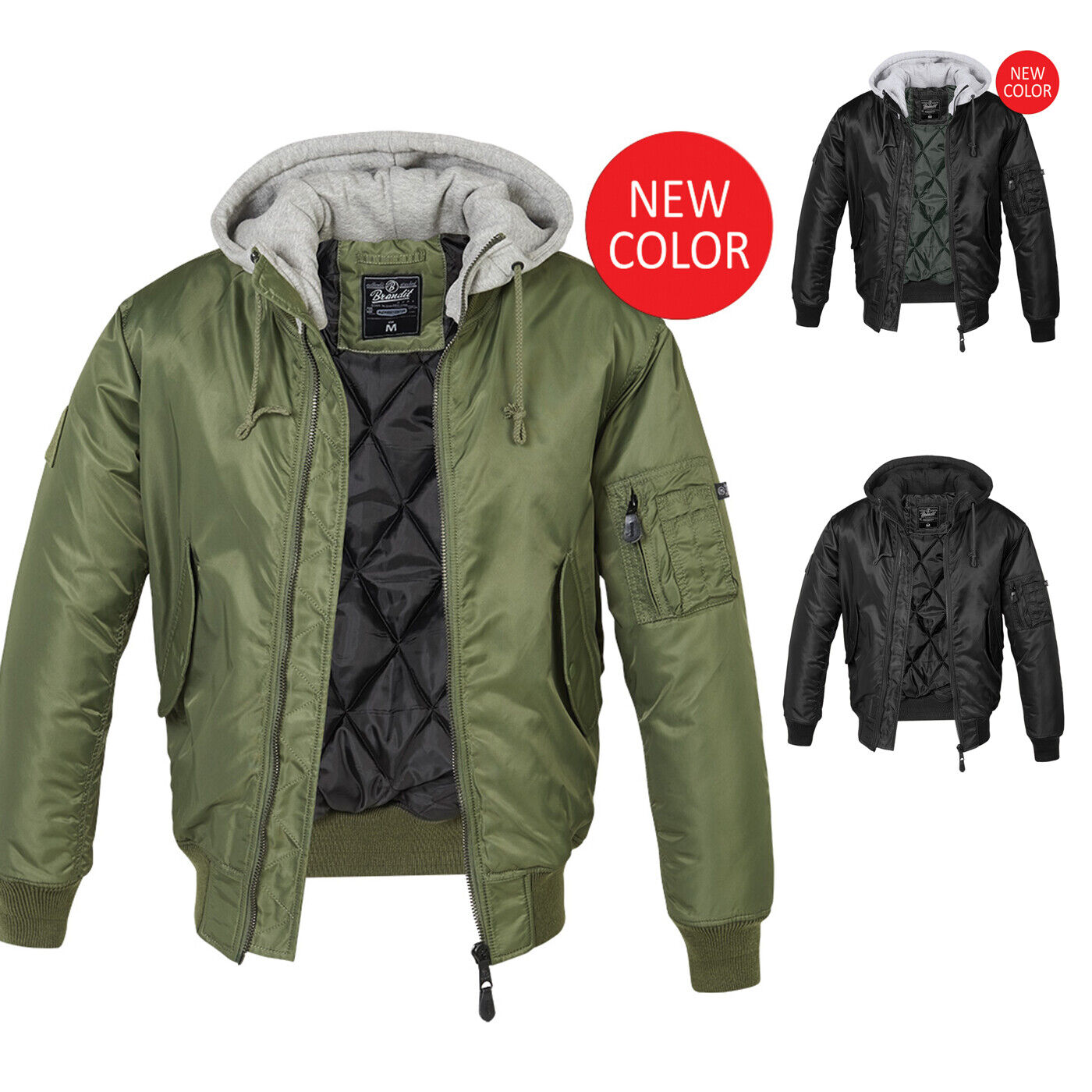 3608adef5 Details about Brandit Ma1 Sweat Hooded Bomber Jacket with Hoodie Hooded  Jacket Blouson