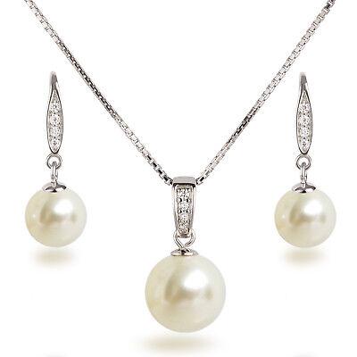 Schmuckset 925 Silber rhodiniert Perlen cremeweiß Anhänger, Kette und Ohrhänger