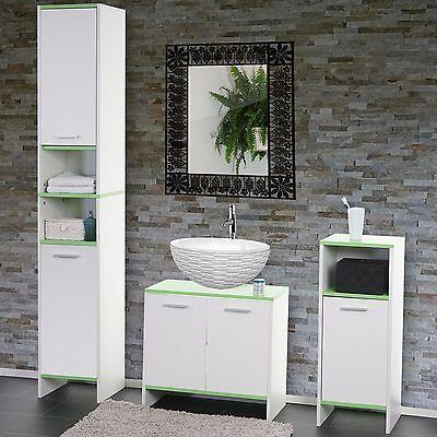 Arredo bagno serie Arezzo sottolavabo+mobile alto+mobiletto ~ bianco-verde D