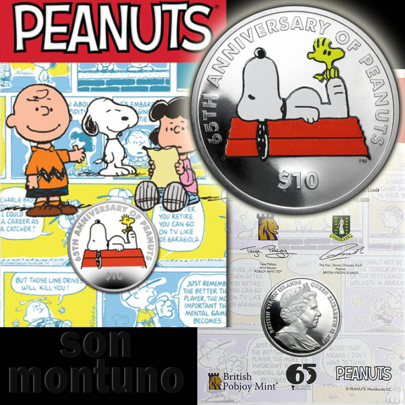 65TH ANNIVERSARY OF PEANUTS - $10 Silver Coin 2015 British Virgin Islands SNOOPY