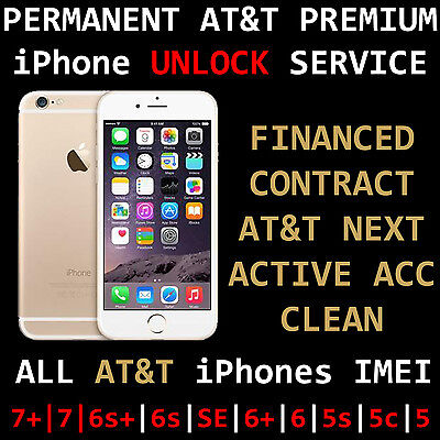 AT&T FACTORY UNLOCK SERVICE SEMI PREMIUM IPHONE 7+ 6s+ 6s 6+ 6 5S CONTRACT NEXT