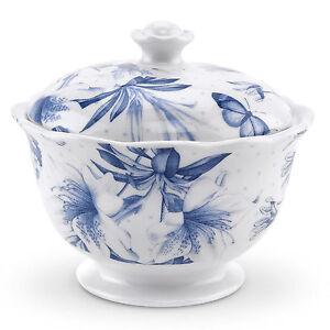 Portmeirion Botanic Blue Covered Sugar Porcelain Tea China Vintage White