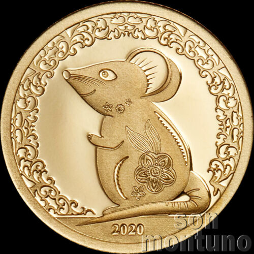2020 Mongolia - YEAR OF THE MOUSE - 1000 Togrog 1/2 gram 24K GOLD COIN .9999