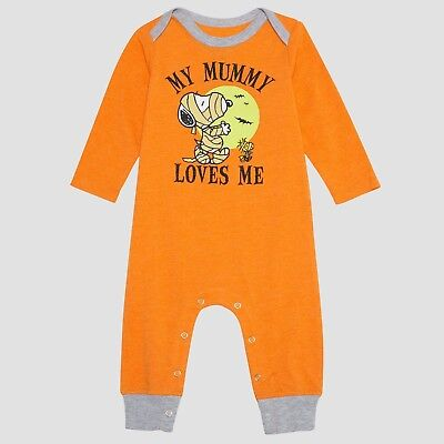 Boys Peanuts Snoopy & Woodstock My Mummy Loves Me 1-Pc Romper Halloween Outfit (Woodstock Outfits)