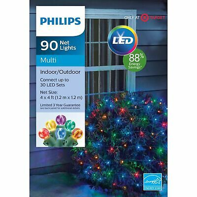 Philips 90 Ct Christmas LED 4' x 4' Round Sphere Net String
