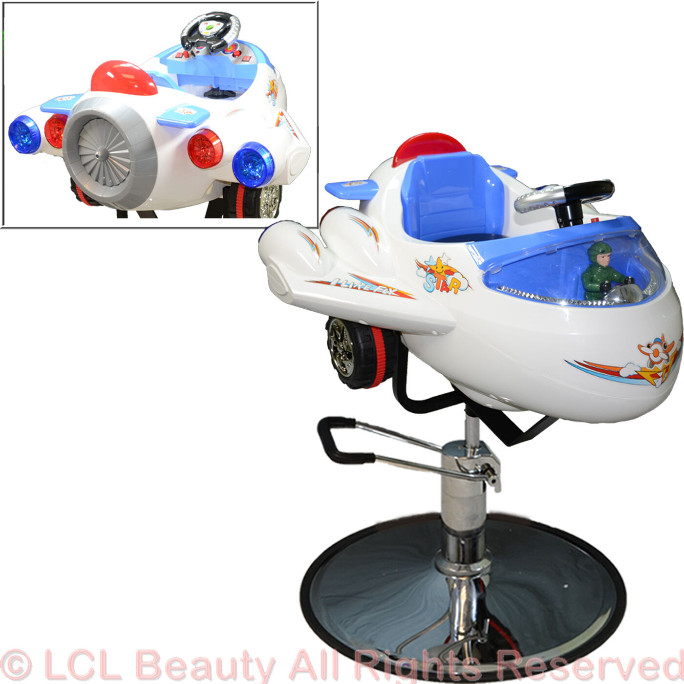 Children Airplane Hydraulic Child Barber Kid Chair Stylin...