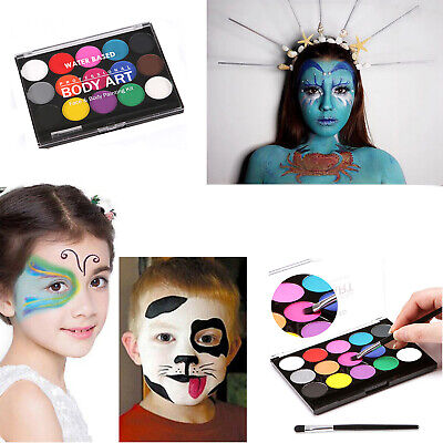 Halloween Make Up Faces (15 Colors Face Paint Professional Pigments Make Up Halloween Art Party)