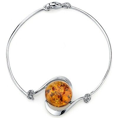 Baltic Amber Solitaire Bangle Bracelet Sterling Silver Cognac Color Ambers Sterling Silver Bangles