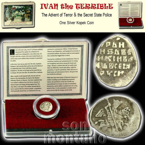 IVAN IV THE TERRIBLE Medieval Russian Silver Empire Coin in Display Box with COA