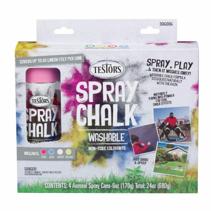 TES306006 Temporary Decorative Spray Chalk Set (Pink, Blue, White, Yellow)