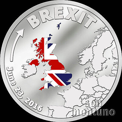 Brexit Coin   One Dollar Silver Proof   June 23 2016   Cook Islands   Sold Out