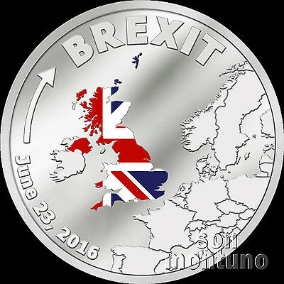 Brexit Coin   One Dollar Silver Proof   June 23 2016   Cook Islands  1 Uk Eu