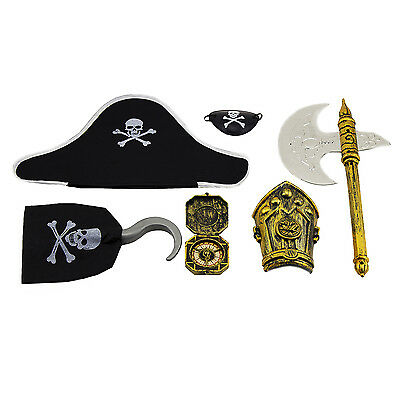 6pc Pirate Skull Costume Accesorie Kits Pack Birthday Party Dress Up Favors - Pirate Costume Accesories