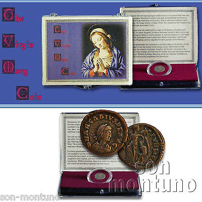 VIRGIN MARY COIN IN BOX  Ancient Bronze Roman Emperor Arcadius HOLY MOTHER JESUS
